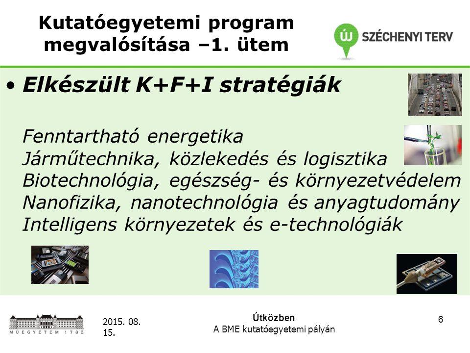 Útközben A BME kutatóegyetemi pályán 2015. 08. 15. 6 Kutatóegyetemi program megvalósítása –1. ütem Elkészült K+F+I stratégiák Fenntartható energetika