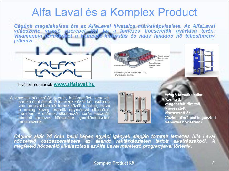 Alfa Laval és a Komplex Product A lemezes hőcserélők szerelt, hullámosított lemezek sorozatából állnak. A lemezek között két csatorna van, amelyekben