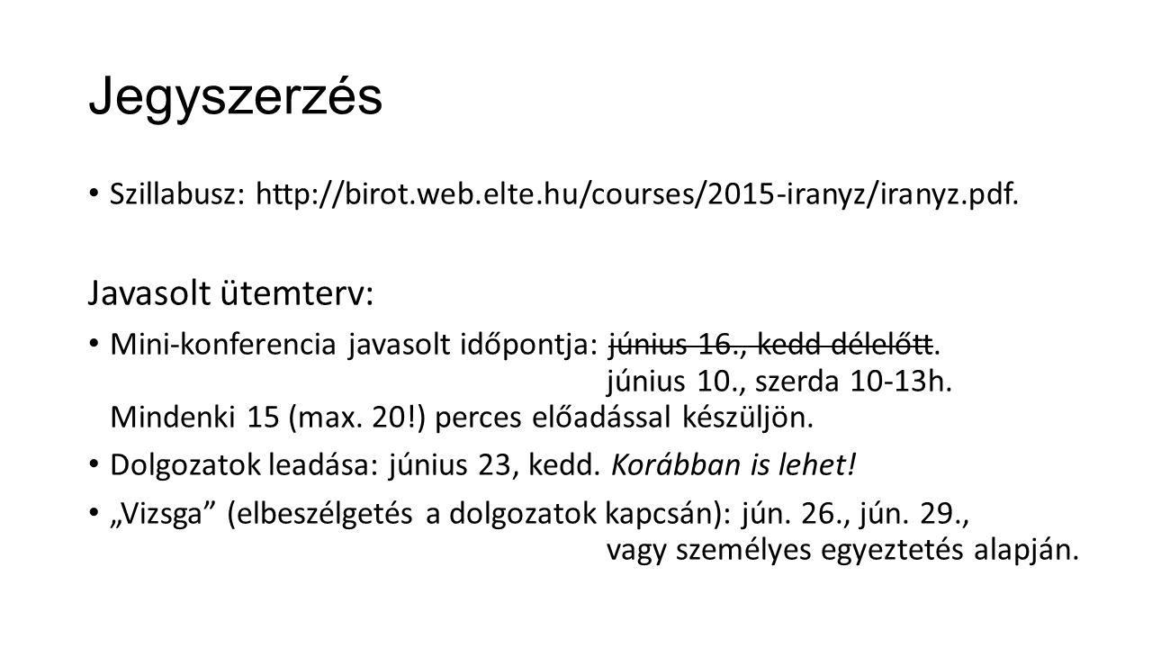 Jegyszerzés Szillabusz: http://birot.web.elte.hu/courses/2015-iranyz/iranyz.pdf.