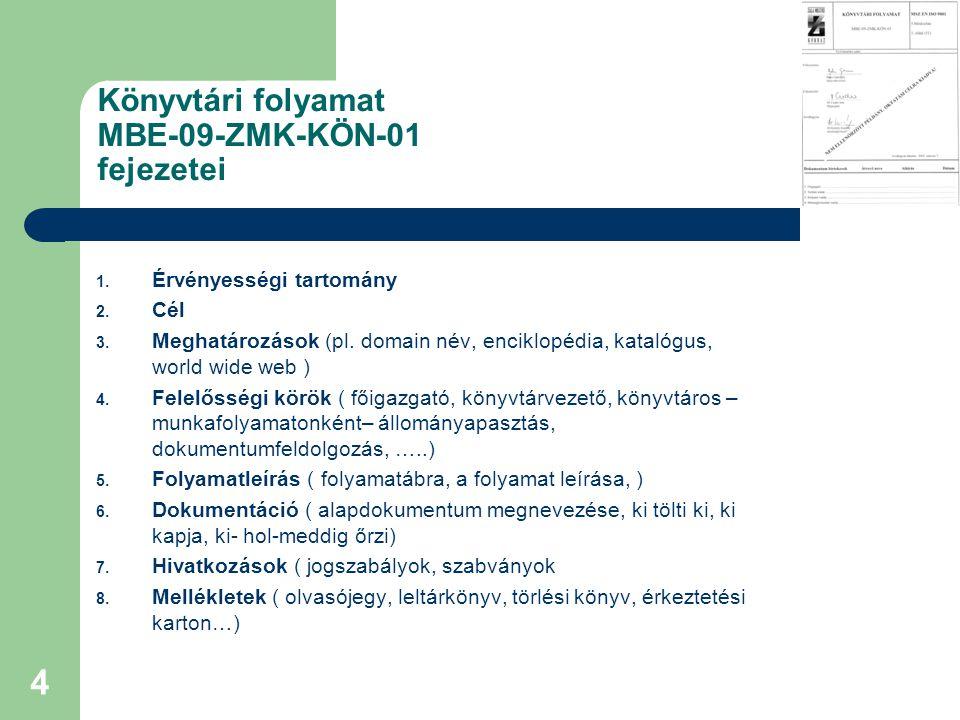 4 Könyvtári folyamat MBE-09-ZMK-KÖN-01 fejezetei 1.