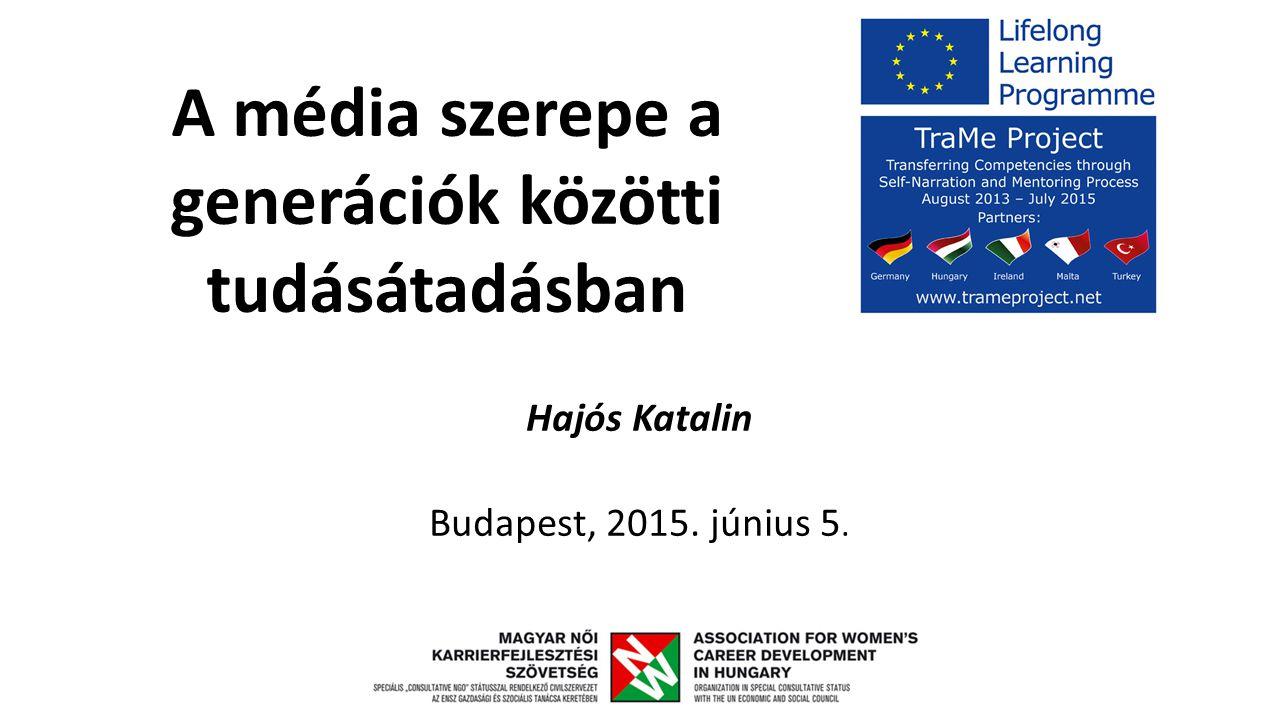A média szerepe a generációk közötti tudásátadásban Hajós Katalin Budapest, 2015. június 5.