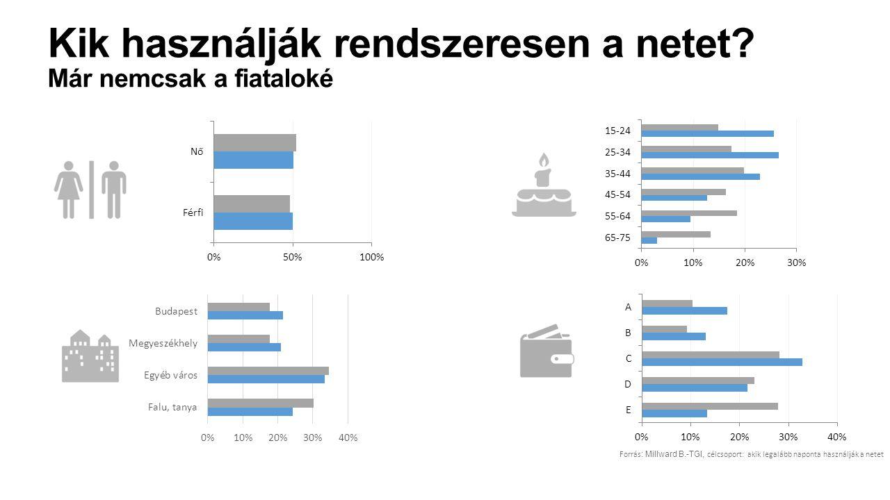Forrás : Millward B.-TGI, célcsoport: akik legalább naponta használják a netet Kik használják rendszeresen a netet? Már nemcsak a fiataloké