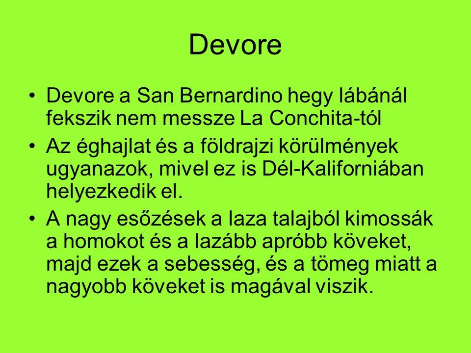 Devore Devore a San Bernardino hegy lábánál fekszik nem messze La Conchita-tól Az éghajlat és a földrajzi körülmények ugyanazok, mivel ez is Dél-Kalif