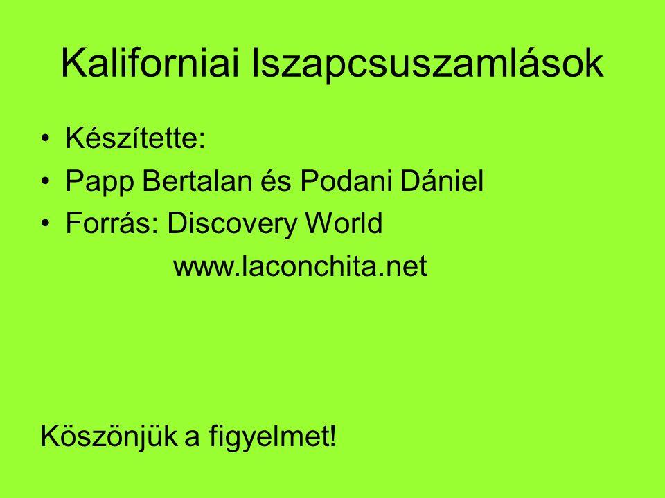 Kaliforniai Iszapcsuszamlások Készítette: Papp Bertalan és Podani Dániel Forrás: Discovery World www.laconchita.net Köszönjük a figyelmet!