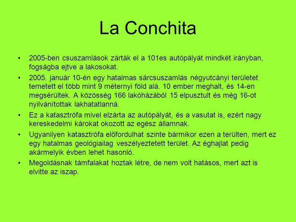 La Conchita 2005-ben csuszamlások zárták el a 101es autópályát mindkét irányban, fogságba ejtve a lakosokat. 2005. január 10-én egy hatalmas sárcsusza