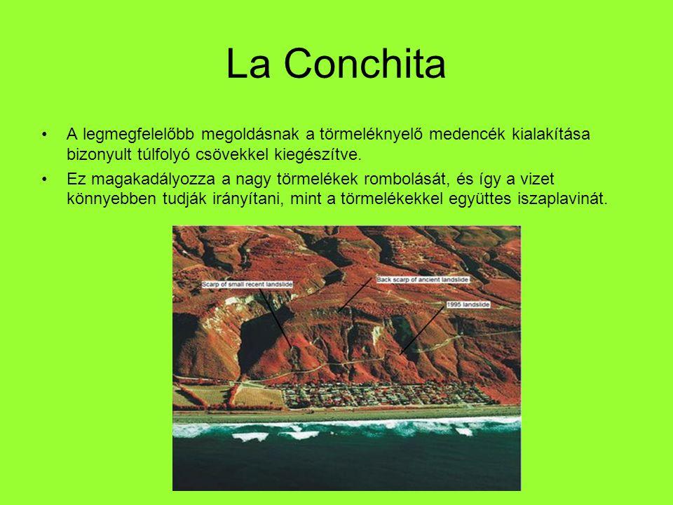 La Conchita A legmegfelelőbb megoldásnak a törmeléknyelő medencék kialakítása bizonyult túlfolyó csövekkel kiegészítve. Ez magakadályozza a nagy törme