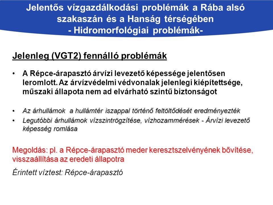 Jelentős vízgazdálkodási problémák a Rába alsó szakaszán és a Hanság térségében - Hidromorfológiai problémák- Jelenleg (VGT2) fennálló problémák A Répce-árapasztó árvízi levezető képessége jelentősen leromlott.