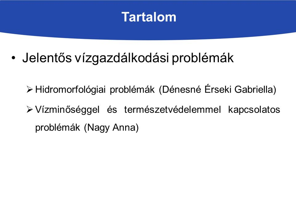 Tartalom Jelentős vízgazdálkodási problémák  Hidromorfológiai problémák (Dénesné Érseki Gabriella)  Vízminőséggel és természetvédelemmel kapcsolatos problémák (Nagy Anna)