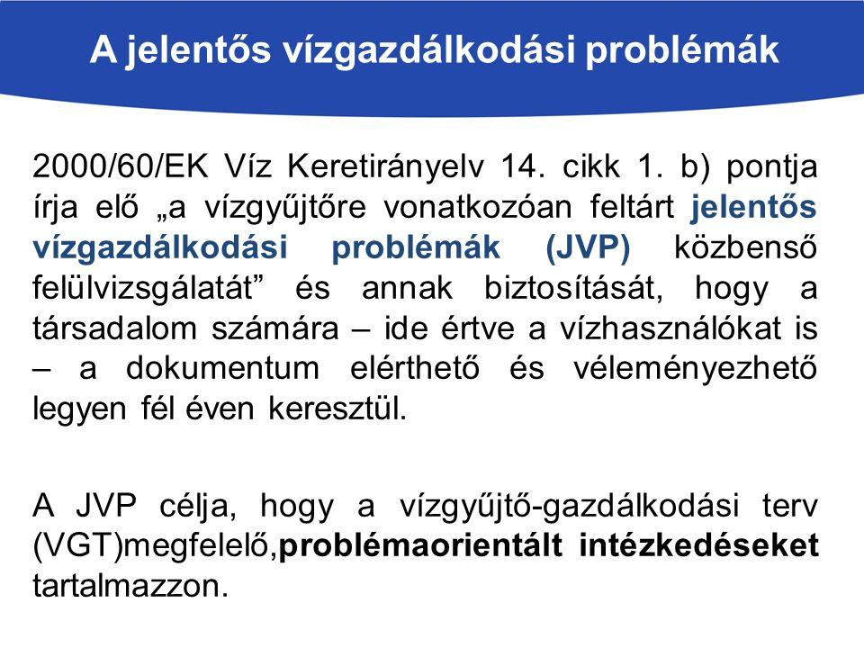 A jelentős vízgazdálkodási problémák 2000/60/EK Víz Keretirányelv 14.