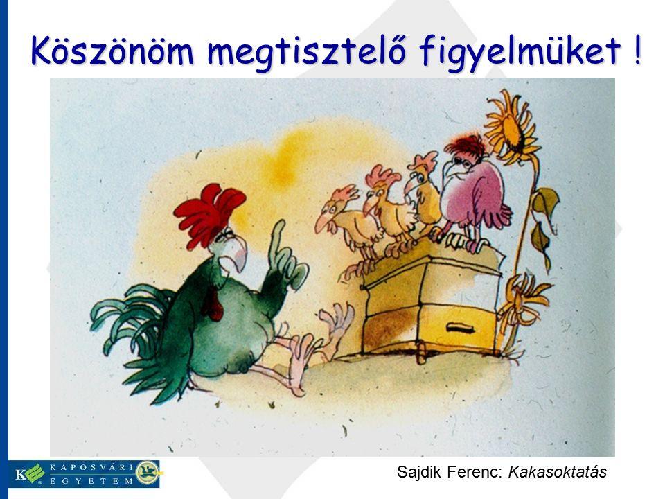 Sajdik Ferenc: Kakasoktatás Köszönöm megtisztelő figyelmüket !