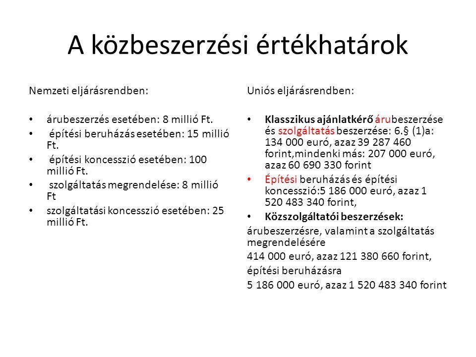 A közbeszerzési értékhatárok Nemzeti eljárásrendben: árubeszerzés esetében: 8 millió Ft. építési beruházás esetében: 15 millió Ft. építési koncesszió
