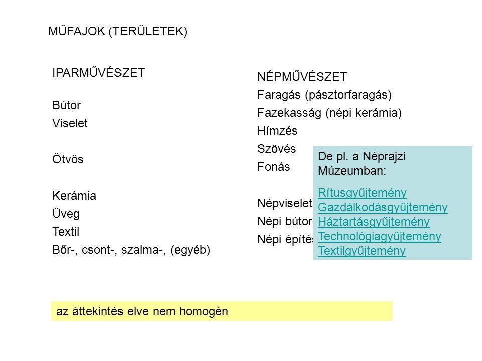 IPARMŰVÉSZET Bútor Viselet Ötvös Kerámia Üveg Textil Bőr-, csont-, szalma-, (egyéb) MŰFAJOK (TERÜLETEK) az áttekintés elve nem homogén NÉPMŰVÉSZET Far
