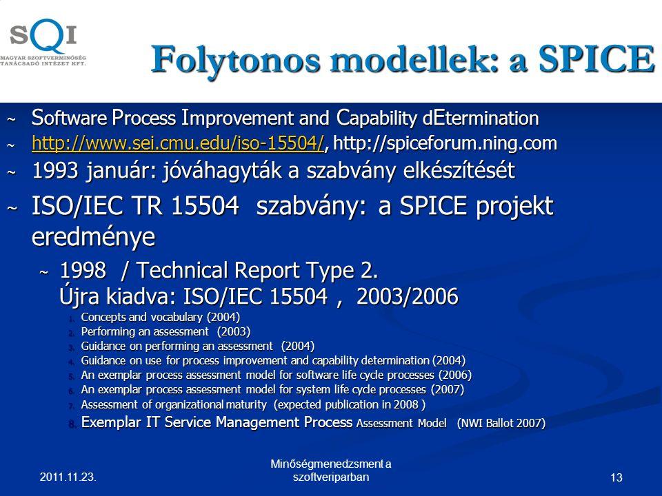 Folytonos modellek: a SPICE ~ S oftware P rocess I mprovement and C apability d E termination ~ http://www.sei.cmu.edu/iso-15504/, http://spiceforum.ning.com http://www.sei.cmu.edu/iso-15504/ ~ 1993 január: jóváhagyták a szabvány elkészítését ~ ISO/IEC TR 15504 szabvány: a SPICE projekt eredménye ~ 1998 / Technical Report Type 2.