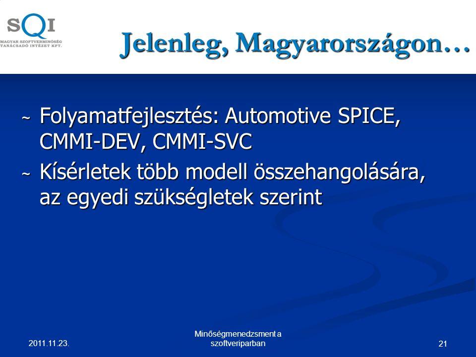 Jelenleg, Magyarországon… ~ Folyamatfejlesztés: Automotive SPICE, CMMI-DEV, CMMI-SVC ~ Kísérletek több modell összehangolására, az egyedi szükségletek szerint 2011.11.23.
