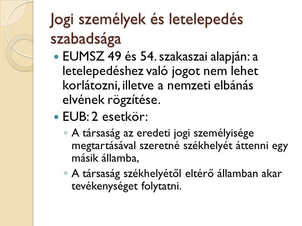 Jogi személyek és letelepedés szabadsága EUMSZ 49 és 54. szakaszai alapján: a letelepedéshez való jogot nem lehet korlátozni, illetve a nemzeti elbáná