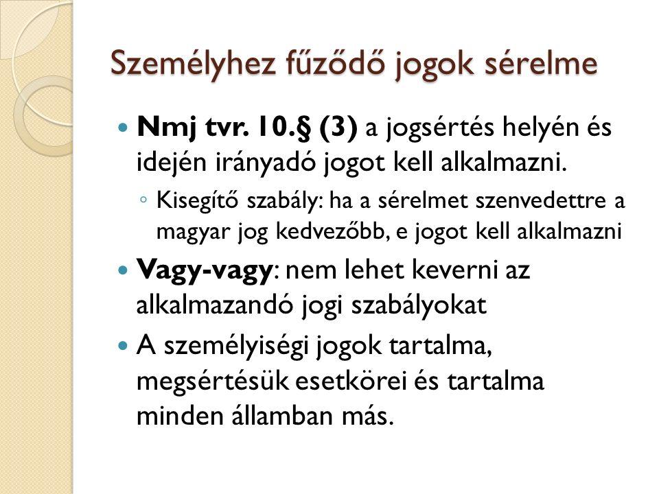 Személyhez fűződő jogok sérelme Nmj tvr. 10.§ (3) a jogsértés helyén és idején irányadó jogot kell alkalmazni. ◦ Kisegítő szabály: ha a sérelmet szenv