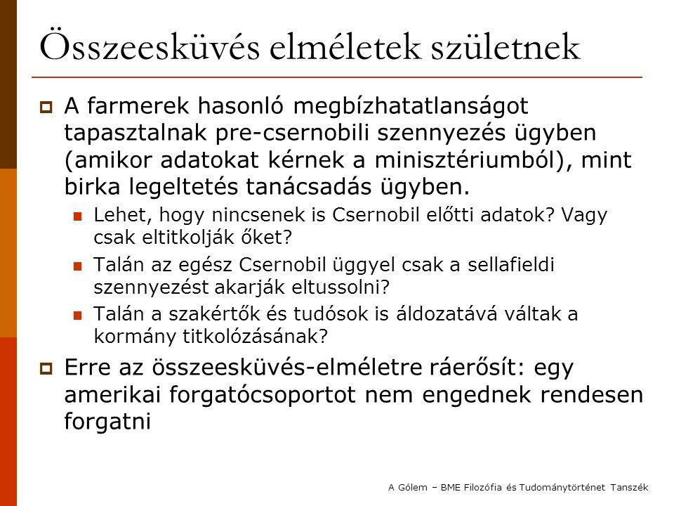 Összeesküvés elméletek születnek  A farmerek hasonló megbízhatatlanságot tapasztalnak pre-csernobili szennyezés ügyben (amikor adatokat kérnek a minisztériumból), mint birka legeltetés tanácsadás ügyben.