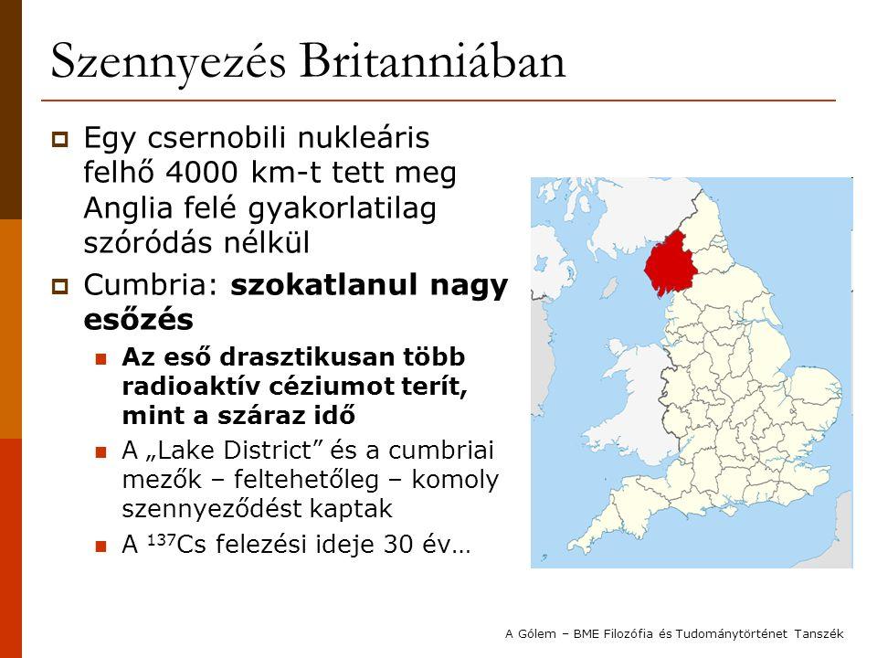"""Szennyezés Britanniában  Egy csernobili nukleáris felhő 4000 km-t tett meg Anglia felé gyakorlatilag szóródás nélkül  Cumbria: szokatlanul nagy esőzés Az eső drasztikusan több radioaktív céziumot terít, mint a száraz idő A """"Lake District és a cumbriai mezők – feltehetőleg – komoly szennyeződést kaptak A 137 Cs felezési ideje 30 év… A Gólem – BME Filozófia és Tudománytörténet Tanszék"""