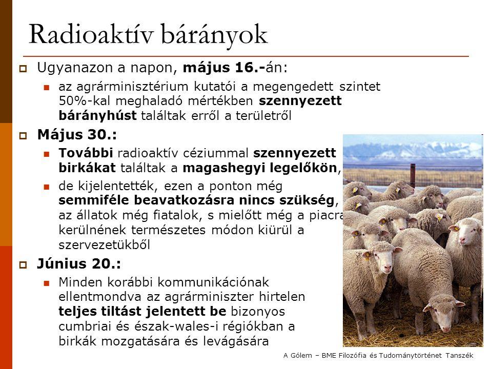 Radioaktív bárányok  Ugyanazon a napon, május 16.-án: az agrárminisztérium kutatói a megengedett szintet 50%-kal meghaladó mértékben szennyezett bárányhúst találtak erről a területről  Május 30.: További radioaktív céziummal szennyezett birkákat találtak a magashegyi legelőkön, de kijelentették, ezen a ponton még semmiféle beavatkozásra nincs szükség, az állatok még fiatalok, s mielőtt még a piacra kerülnének természetes módon kiürül a szervezetükből  Június 20.: Minden korábbi kommunikációnak ellentmondva az agrárminiszter hirtelen teljes tiltást jelentett be bizonyos cumbriai és észak-wales-i régiókban a birkák mozgatására és levágására A Gólem – BME Filozófia és Tudománytörténet Tanszék