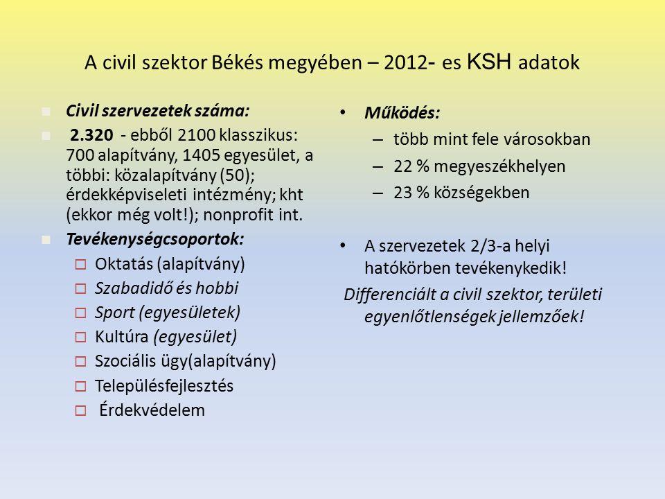A civil szektor Békés megyében – 2012 - es KSH adatok Működés: – több mint fele városokban – 22 % megyeszékhelyen – 23 % községekben A szervezetek 2/3-a helyi hatókörben tevékenykedik.