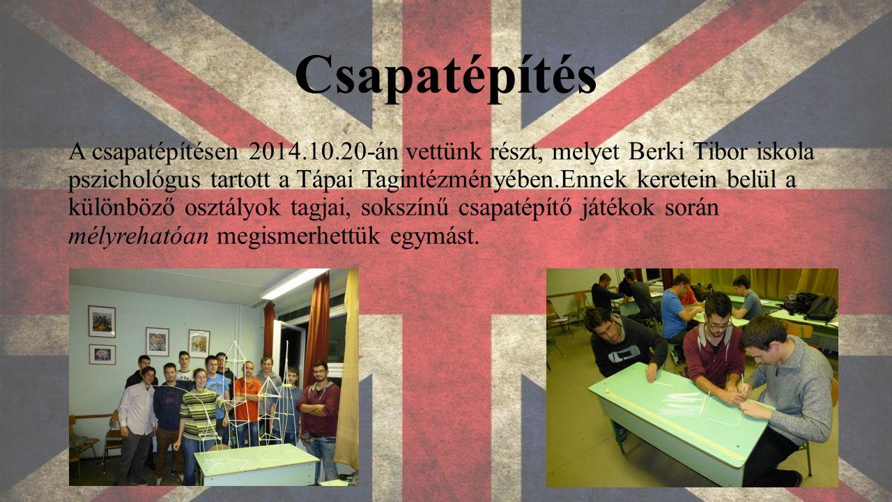 Csapatépítés A csapatépítésen 2014.10.20-án vettünk részt, melyet Berki Tibor iskola pszichológus tartott a Tápai Tagintézményében.Ennek keretein belül a különböző osztályok tagjai, sokszínű csapatépítő játékok során mélyrehatóan megismerhettük egymást.