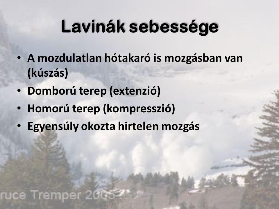 Lavinák sebessége A mozdulatlan hótakaró is mozgásban van (kúszás) Domború terep (extenzió) Homorú terep (kompresszió) Egyensúly okozta hirtelen mozgá