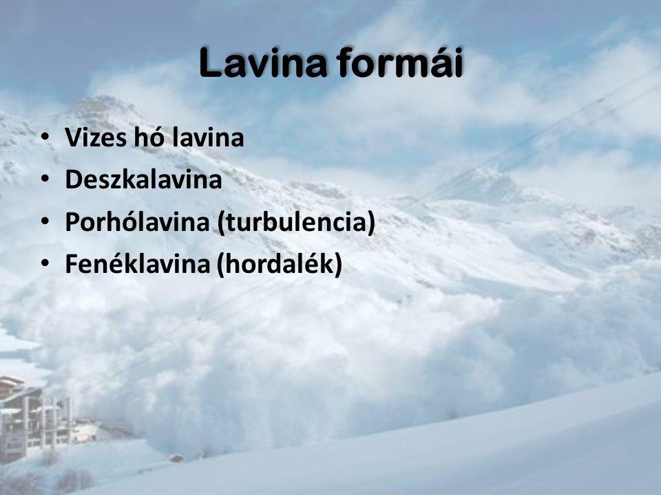Lavina formái Vizes hó lavina Deszkalavina Porhólavina (turbulencia) Fenéklavina (hordalék)