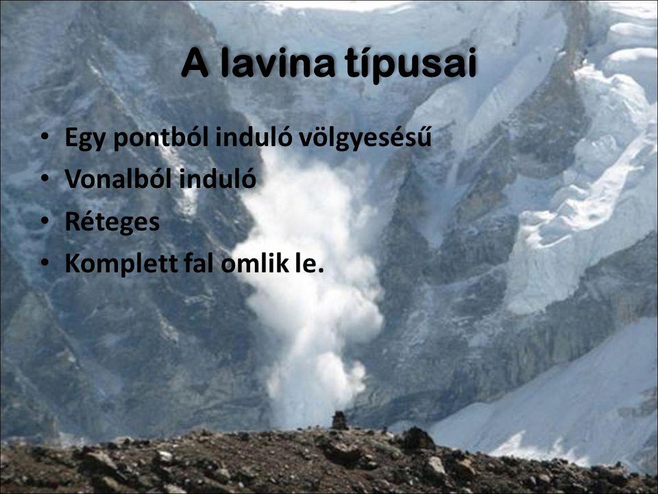 Lavina mozgásának típusai Hótömeg végig érintkezik a talajjal Lépcsős felszín -> szaltáló lavina (szabadesés) Mederlavina Meder nélküli lavina