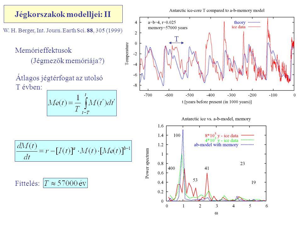 Jégkorszakok modelljei: II W. H. Berger, Int. Journ. Earth Sci. 88, 305 (1999) Memórieffektusok (Jégmezők memóriája?) Átlagos jégtérfogat az utolsó T