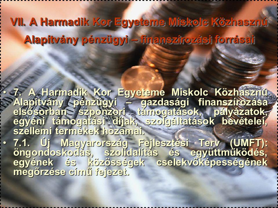 30 VII. A Harmadik Kor Egyeteme Miskolc Közhasznú Alapítvány pénzügyi – finanszírozási forrásai 7. A Harmadik Kor Egyeteme Miskolc Közhasznú Alapítván