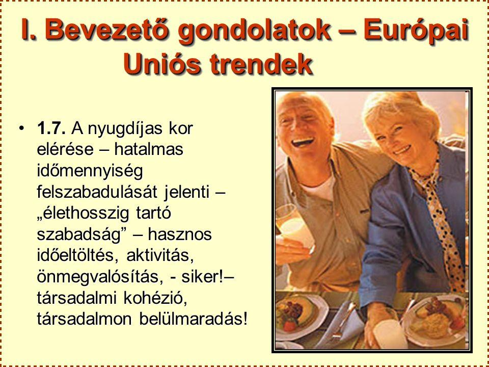 """4 I. Bevezető gondolatok – Európai Uniós trendek 1.7. A nyugdíjas kor elérése – hatalmas időmennyiség felszabadulását jelenti – """"élethosszig tartó sza"""