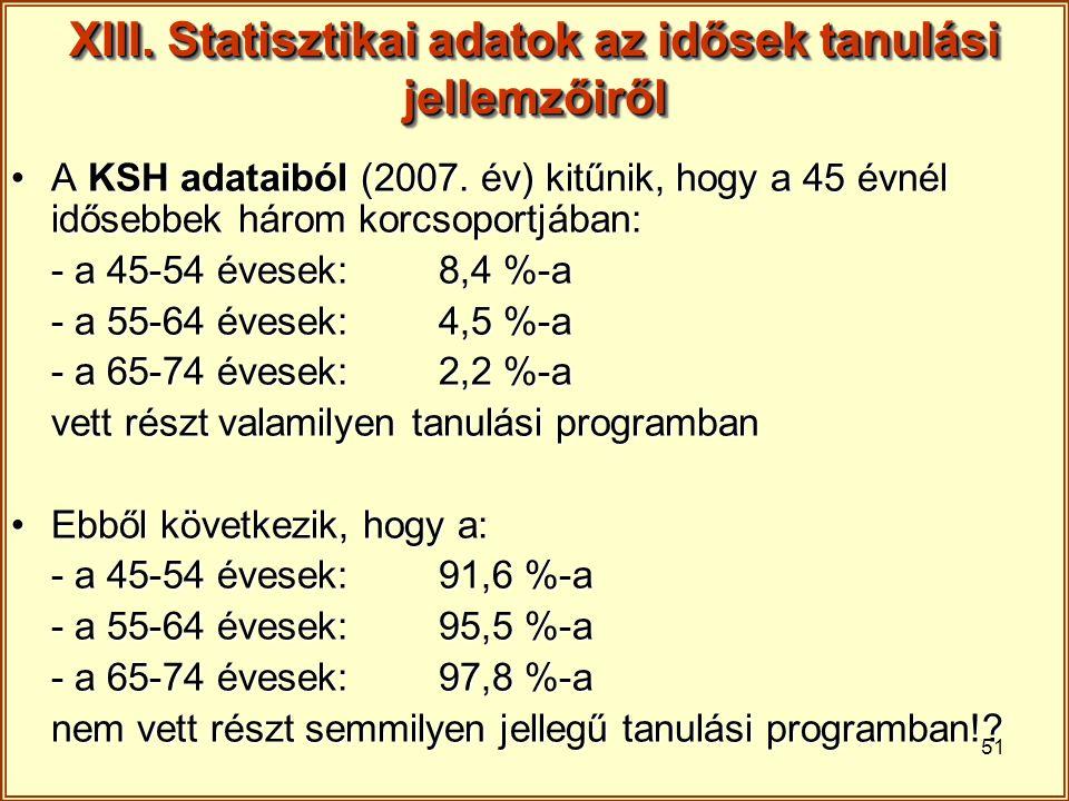 51 XIII. Statisztikai adatok az idősek tanulási jellemzőiről A KSH adataiból (2007. év) kitűnik, hogy a 45 évnél idősebbek három korcsoportjában:A KSH