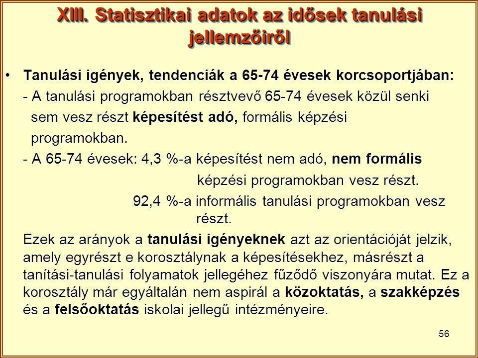 56 XIII. Statisztikai adatok az idősek tanulási jellemzőiről Tanulási igények, tendenciák a 65-74 évesek korcsoportjában:Tanulási igények, tendenciák