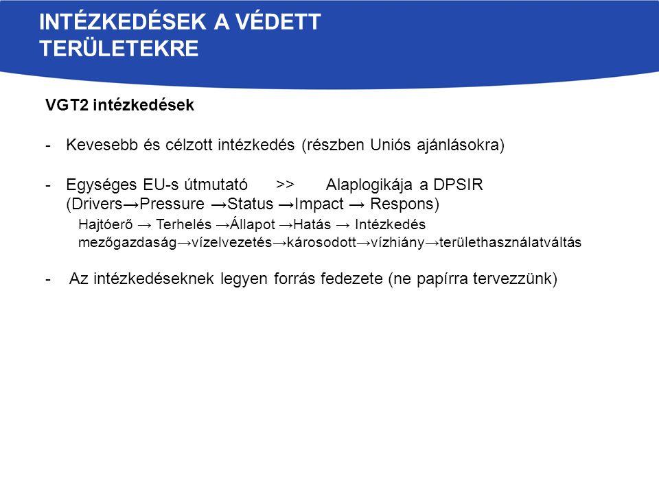 VGT2 intézkedések -Kevesebb és célzott intézkedés (részben Uniós ajánlásokra) -Egységes EU-s útmutató>> Alaplogikája a DPSIR (Drivers→Pressure →Status →Impact → Respons) Hajtóerő → Terhelés →Állapot →Hatás → Intézkedés mezőgazdaság→vízelvezetés→károsodott→vízhiány→területhasználatváltás - Az intézkedéseknek legyen forrás fedezete (ne papírra tervezzünk) INTÉZKEDÉSEK A VÉDETT TERÜLETEKRE