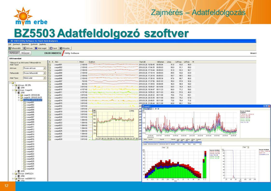 Zajmérés – Adatfeldolgozás BZ5503Adatfeldolgozó szoftver BZ5503 Adatfeldolgozó szoftver 12
