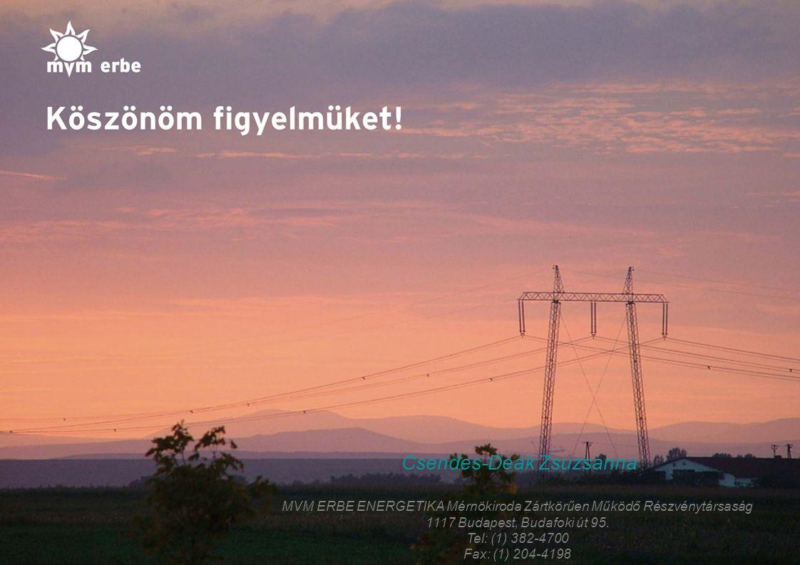 14 Csendes-Deák Zsuzsanna MVM ERBE ENERGETIKA Mérnökiroda Zártkörűen Működő Részvénytársaság 1117 Budapest, Budafoki út 95.