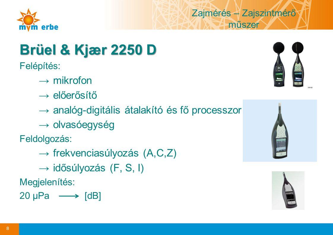 Zajmérés – Zajszintmérő műszer Brüel & Kjær 2250 D Felépítés: →mikrofon →előerősítő →analóg-digitális átalakító és fő processzor →olvasóegység Feldolgozás: →frekvenciasúlyozás (A,C,Z) →idősúlyozás (F, S, I) Megjelenítés: 20 µPa [dB] 8