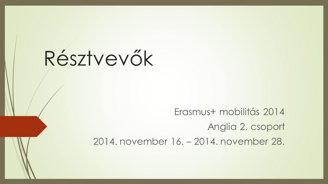 Résztvevők Erasmus+ mobilitás 2014 Anglia 2. csoport 2014. november 16. – 2014. november 28.