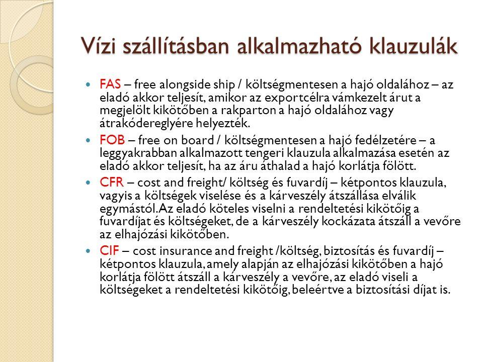 Vízi szállításban alkalmazható klauzulák FAS – free alongside ship / költségmentesen a hajó oldalához – az eladó akkor teljesít, amikor az exportcélra