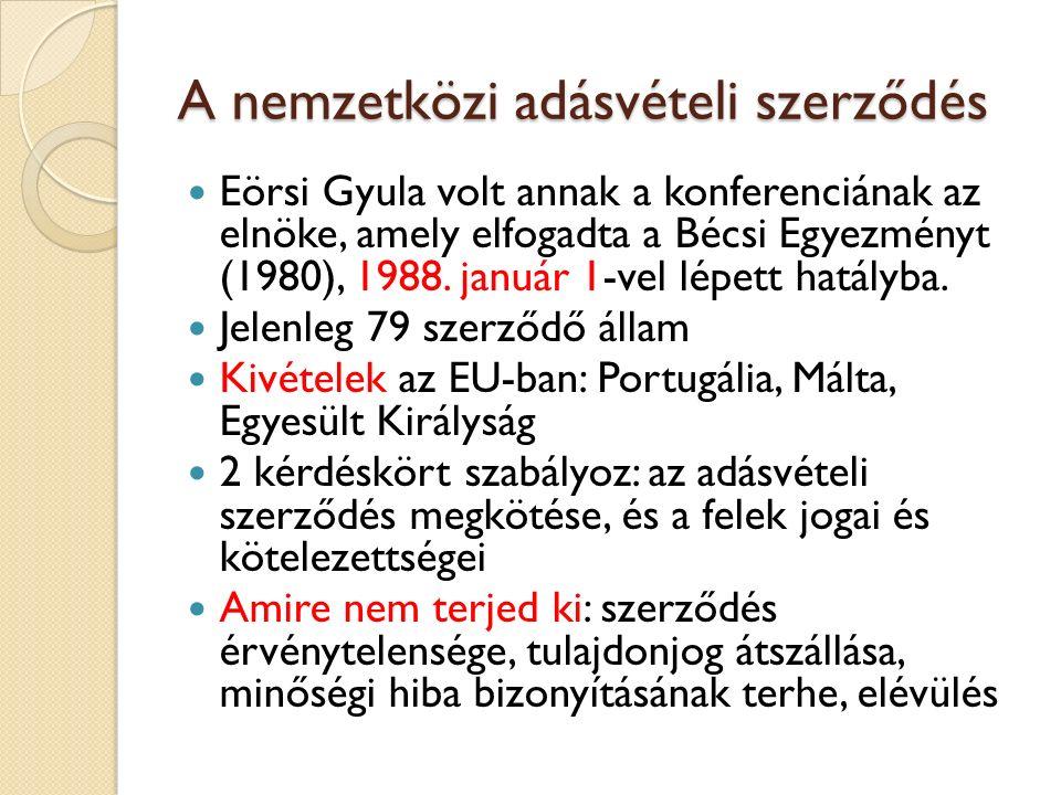 A nemzetközi adásvételi szerződés Eörsi Gyula volt annak a konferenciának az elnöke, amely elfogadta a Bécsi Egyezményt (1980), 1988. január 1-vel lép