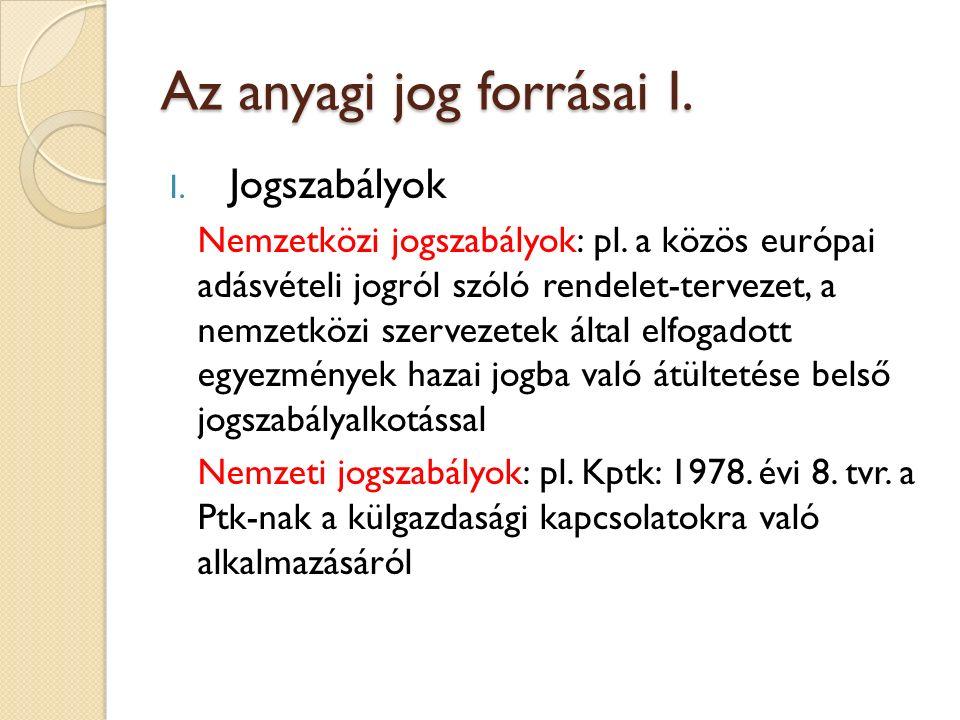 Az anyagi jog forrásai I. I. Jogszabályok Nemzetközi jogszabályok: pl. a közös európai adásvételi jogról szóló rendelet-tervezet, a nemzetközi szervez