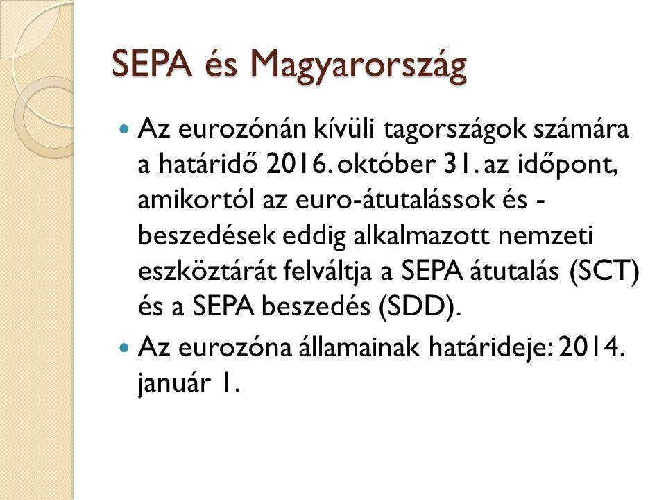 SEPA és Magyarország Az eurozónán kívüli tagországok számára a határidő 2016. október 31. az időpont, amikortól az euro-átutalássok és - beszedések ed