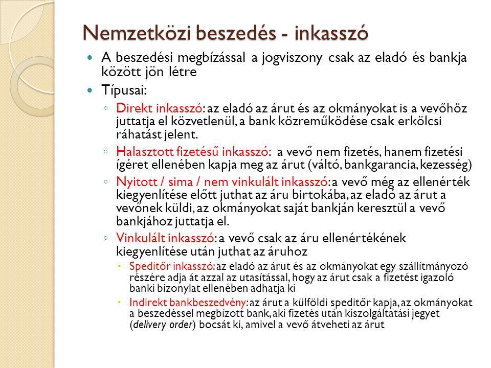 Nemzetközi beszedés - inkasszó A beszedési megbízással a jogviszony csak az eladó és bankja között jön létre Típusai: ◦ Direkt inkasszó: az eladó az á