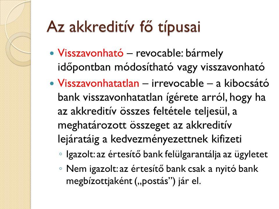 Az akkreditív fő típusai Visszavonható – revocable: bármely időpontban módosítható vagy visszavonható Visszavonhatatlan – irrevocable – a kibocsátó ba