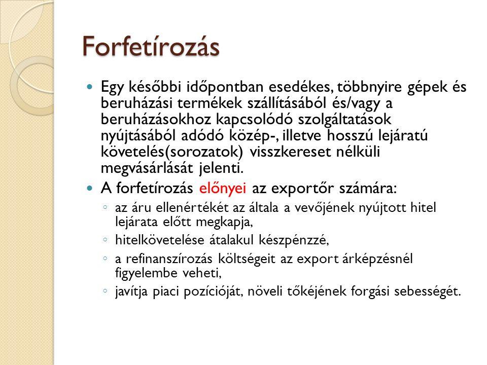 Forfetírozás Egy későbbi időpontban esedékes, többnyire gépek és beruházási termékek szállításából és/vagy a beruházásokhoz kapcsolódó szolgáltatások