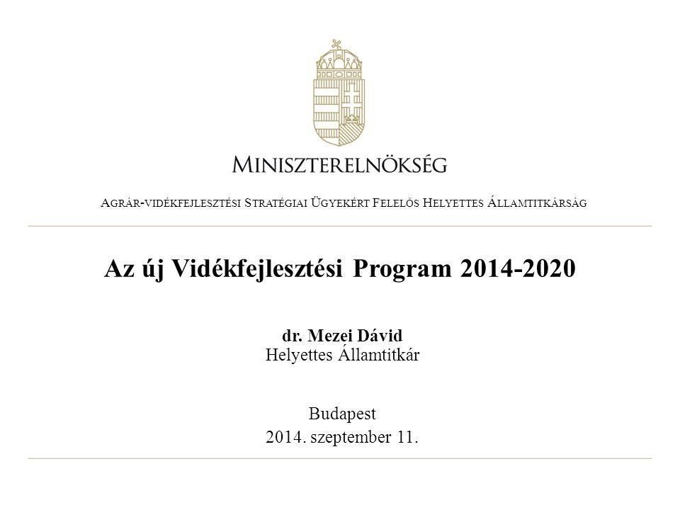 Az új Vidékfejlesztési Program 2014-2020 dr. Mezei Dávid Helyettes Államtitkár Budapest 2014. szeptember 11. A GRÁR - VIDÉKFEJLESZTÉSI S TRATÉGIAI Ü G