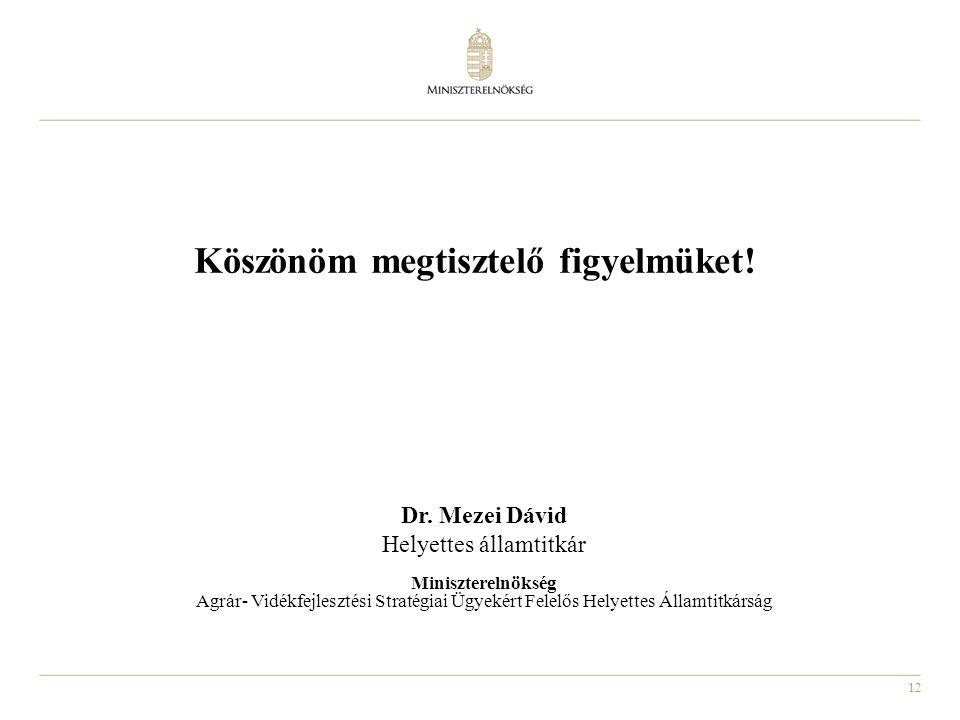 12 Köszönöm megtisztelő figyelmüket! Dr. Mezei Dávid Helyettes államtitkár Miniszterelnökség Agrár- Vidékfejlesztési Stratégiai Ügyekért Felelős Helye