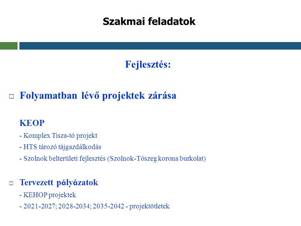 Szakmai feladatok Fejlesztés:  Folyamatban lévő projektek zárása KEOP - Komplex Tisza-tó projekt - HTS tározó tájgazdálkodás - Szolnok belterületi fe