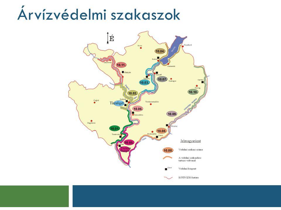 KÖTI-VIZIG árvízvédelmi szakaszok árvíz-veszélyeztetettsége kissé kockázatos kockázatos kiemelten kockázat Értékelés: létesítmények - árvízvédelmi szakaszok hossza (km) - árvízi tározó (van, nincs) - kiépítettség - zsilipek száma (db) védett terület - védett öblözet árvízi adottságok - tartósság (10 év, nap/árhullám) - gyakoriság (10 év, nap/év) erőforrás - védelemvezető tapasztalata (év) - állandó személyzet (fő)