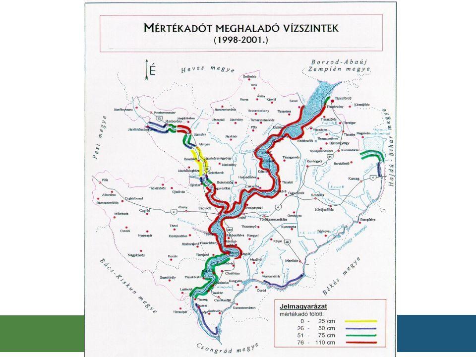 Magassági hiány a Közép-Tiszán 305 Kiépítési szint – LNV < 20 cm: 305 km-en 155 Magasítás: 155 km-en KÖTIVIZIG működési területe töltés magaspart1999-2000